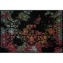 "Tapis Rectangulaire ""Eldely Flower"" 80x150cm Noir"