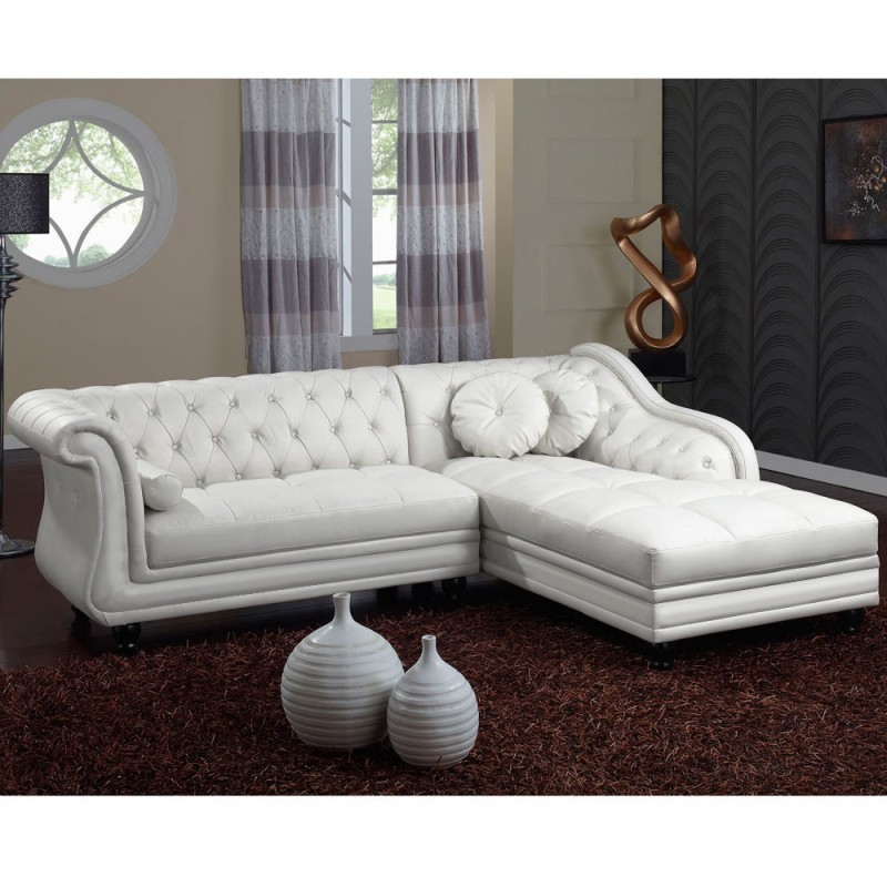 canap chesterfield brighton 240cm blanc angle droit. Black Bedroom Furniture Sets. Home Design Ideas