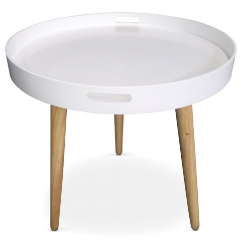 "Table d'Appoint Ronde Scandinave ""Atome"" 61cm Blanc"