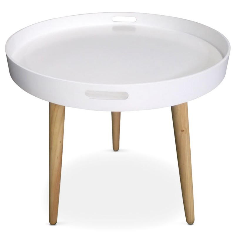table d 39 appoint ronde scandinave atome 61cm blanc. Black Bedroom Furniture Sets. Home Design Ideas