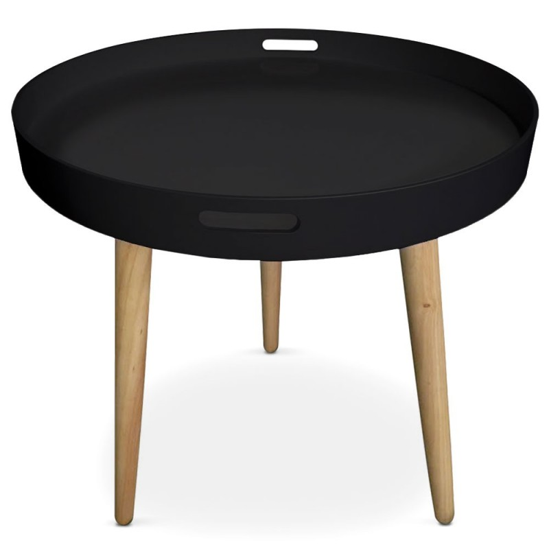 table d 39 appoint ronde scandinave atome 61cm noir. Black Bedroom Furniture Sets. Home Design Ideas
