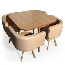 "Ensemble Table de Repas & 4 Chaises Design ""Norway"" Beige"