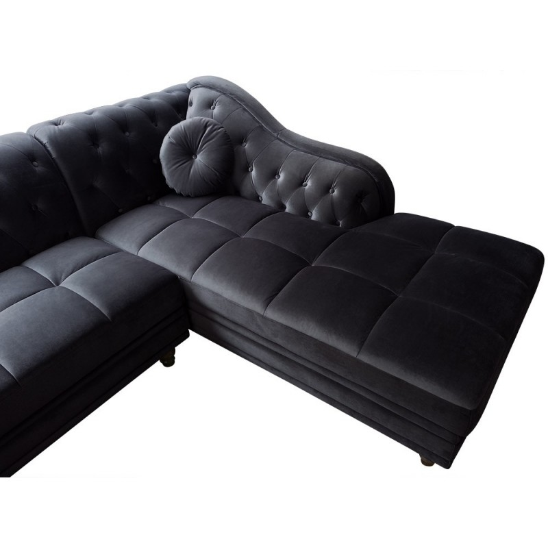 canap chesterfield velours brighton 240cm noir angle droit. Black Bedroom Furniture Sets. Home Design Ideas