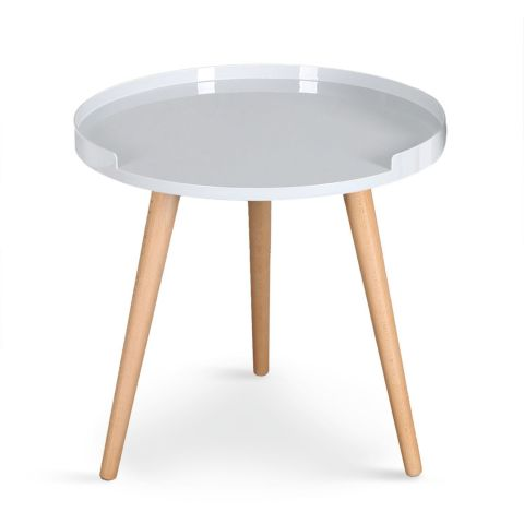 """Table d'Appoint Scandinave """"Beatrice"""" 47cm Blanc"""
