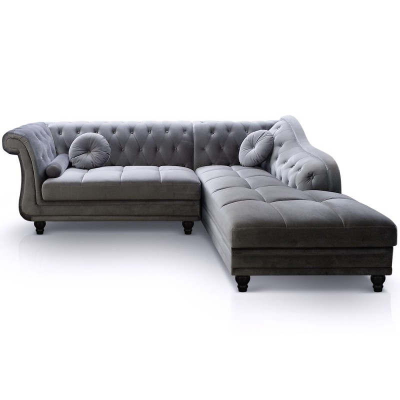 canap chesterfield velours brighton 240cm argent angle droit. Black Bedroom Furniture Sets. Home Design Ideas