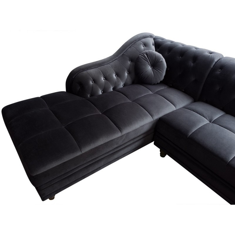 canap chesterfield velours brighton 240cm noir angle gauche. Black Bedroom Furniture Sets. Home Design Ideas