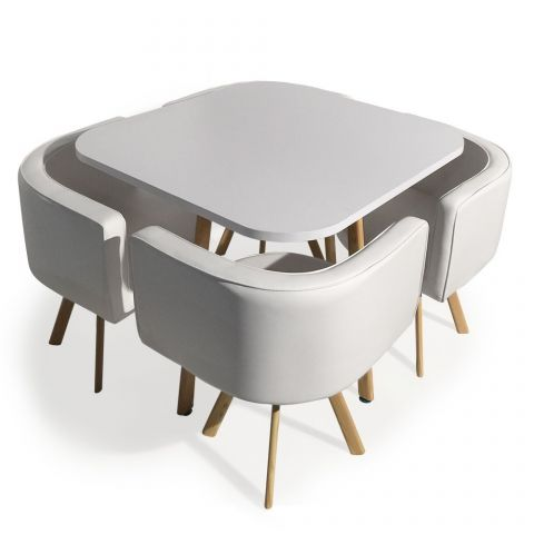 "Ensemble Table de Repas & 4 Chaises Design ""Norway"" Blanc"