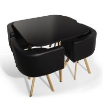 "Ensemble Table de Repas & 4 Chaises Design ""Norway"" Noir"