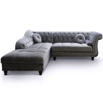 "Canapé Chesterfield Velours ""Brighton"" 240cm Argent Angle Gauche"