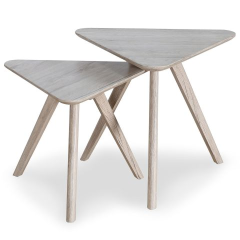 "Lot de 2 Tables d'Appoint Triangulaires ""Viola"" 45cm Chêne"