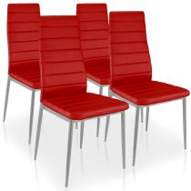 "Lot de 4 Chaises Design ""Kaïus"" 95cm Rouge"