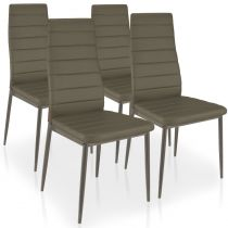 "Lot de 4 Chaises Design ""Kaïus"" 95cm Taupe"