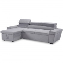 "Canapé d'Angle Convertible 5 Places ""Preston"" 255cm Gris"
