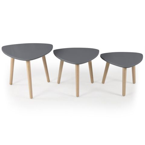 "Set de 3 Tables d'Appoint ""Slap"" 55cm Gris"