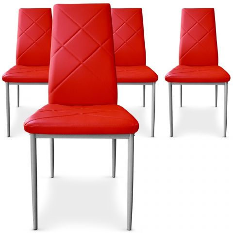 "Lot de 4 Chaises Design ""Mara"" 95cm Rouge"