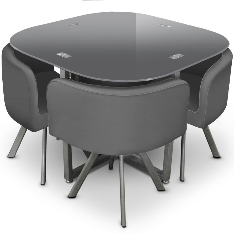Ensemble table de repas 4 chaises design chest gris for Table de fusion ikea