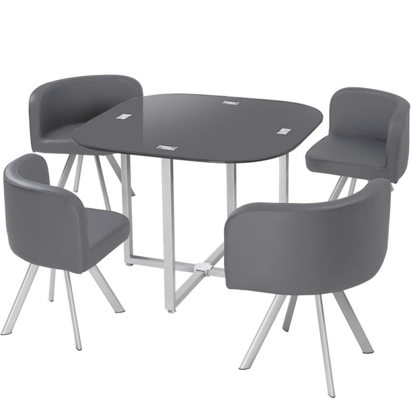Ensemble table de repas 4 chaises design chest gris - Ensemble table chaise salle a manger ...