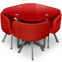 "Ensemble Table de Repas & 4 Chaises Design ""Chest"" Rouge"