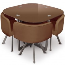 "Ensemble Table de Repas & 4 Chaises Design ""Chest"" Marron"