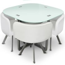 "Ensemble Table de Repas & 4 Chaises Design ""Chest"" Blanc"
