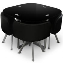 "Ensemble Table de Repas & 4 Chaises Design ""Chest"" Noir"