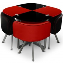 "Ensemble Table de Repas & 4 Chaises Design ""Chest"" Rouge & Noir"