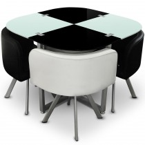 "Ensemble Table de Repas & 4 Chaises Design ""Chest"" Blanc & Noir"