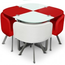 "Ensemble Table de Repas & 4 Chaises Design ""Chest"" Rouge & Blanc"