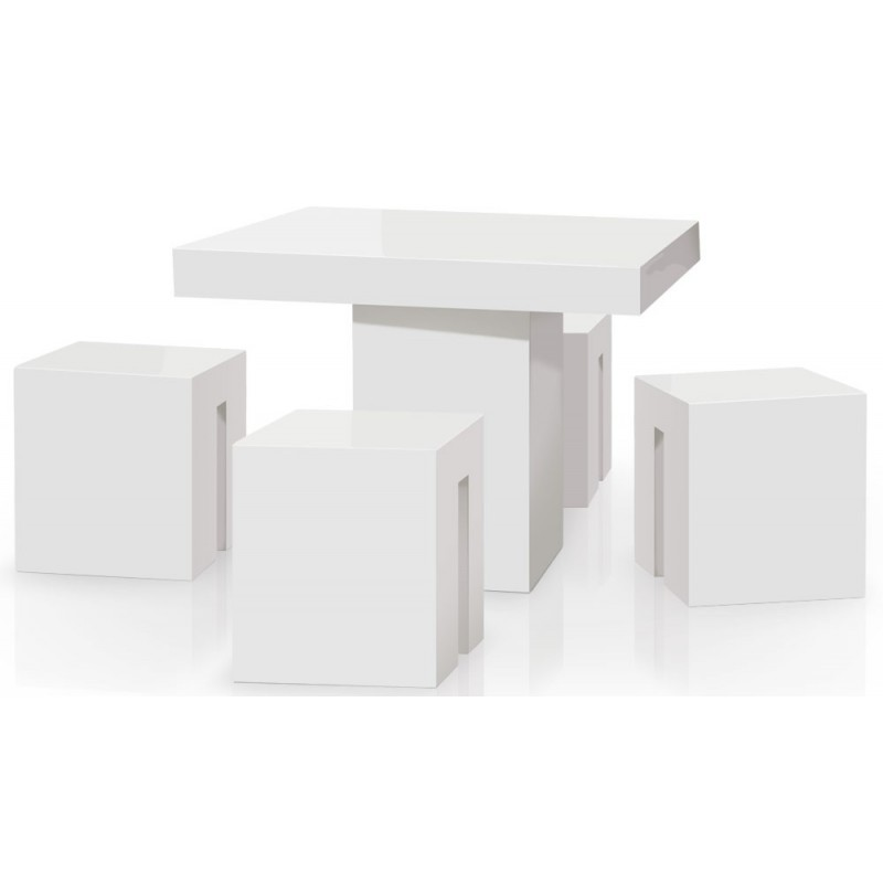 tabouret en bois carr lucie 45cm blanc laqu. Black Bedroom Furniture Sets. Home Design Ideas