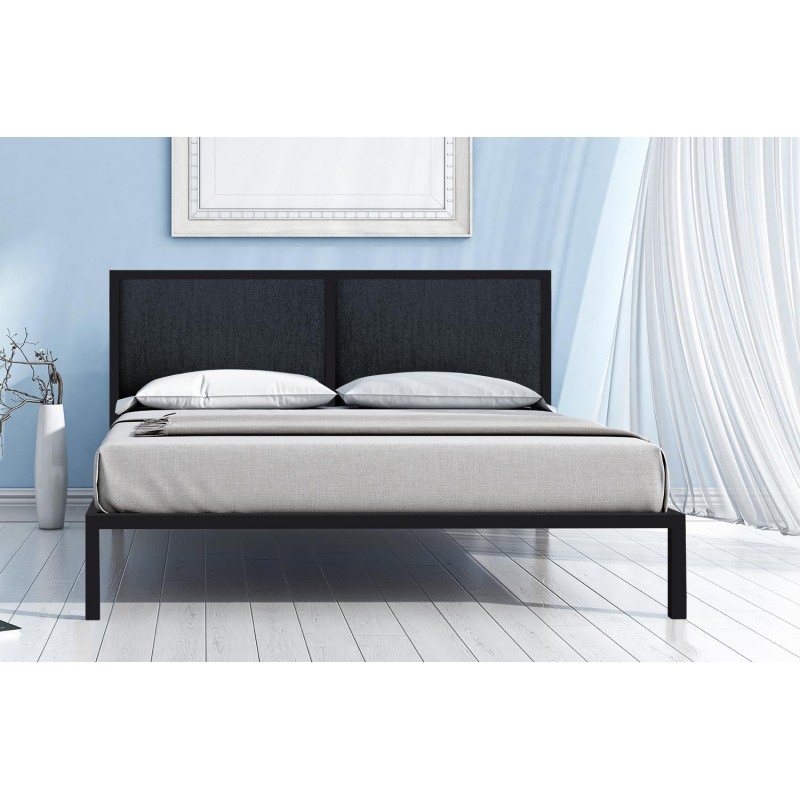 lit adulte wendy 160x190cm gris. Black Bedroom Furniture Sets. Home Design Ideas