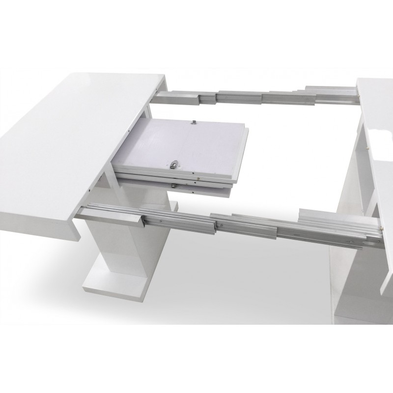 Table de repas extensible camaro 100 250cm blanc laqu for Table a manger extensible blanc laque