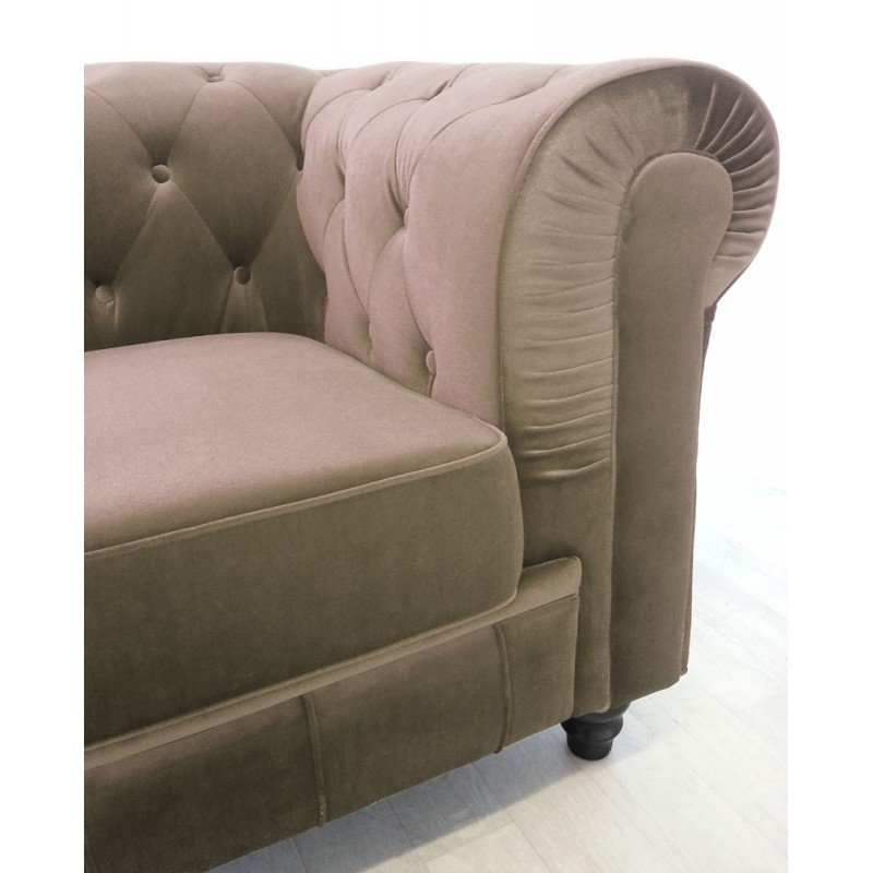 canap 3 places velours chesterfield 207cm taupe. Black Bedroom Furniture Sets. Home Design Ideas