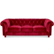 "Canapé 3 Places Velours ""Chesterfield"" 207cm Rouge"