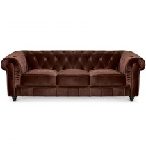 "Canapé 3 Places Velours ""Chesterfield"" 207cm Marron"