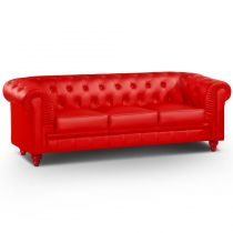 "Canapé 3 Places ""Chesterfield"" 207cm Rouge"