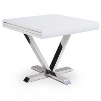 """Table d'Appoint Extensible """"Emery"""" 90-180cm Blanc"""