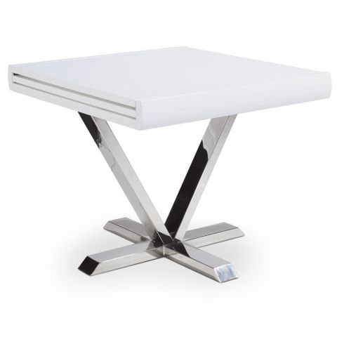 "Table d'Appoint Extensible ""Emery"" 90-180cm Blanc"