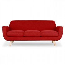 "Canapé 3 Places Scandinave ""Miramas"" 195cm Rouge"