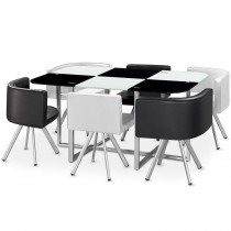 "Ensemble Table & 6 Chaises Design ""Chest"" Noir & Blanc"