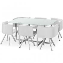 "Ensemble Table & 6 Chaises Design ""Chest"" Blanc"
