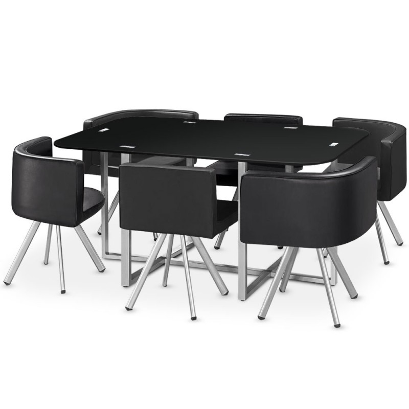 Ensemble table 6 chaises design chest noir - Ensemble chaise et table ...