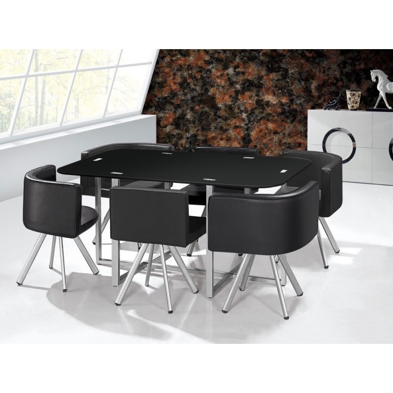 Ensemble table 6 chaises design chest noir - Ensemble table chaise salle a manger ...