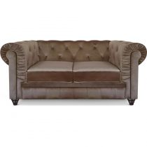 "Canapé 2 Places Velours ""Chesterfield"" 157cm Taupe"