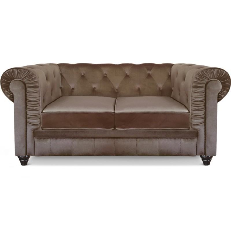 canap 2 places velours chesterfield 157cm taupe. Black Bedroom Furniture Sets. Home Design Ideas