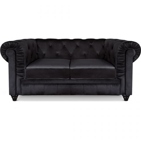 "Canapé 2 Places Velours ""Chesterfield"" 157cm Noir"