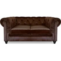 "Canapé 2 Places Velours ""Chesterfield"" 157cm Marron"