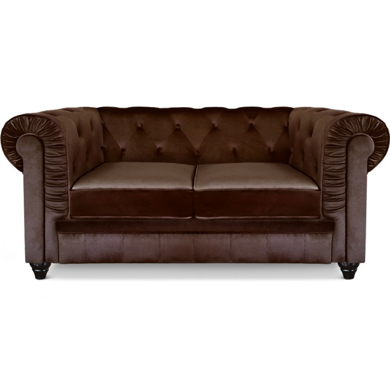 canap 2 places velours chesterfield 157cm marron. Black Bedroom Furniture Sets. Home Design Ideas