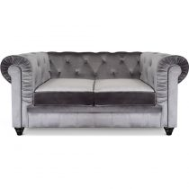 "Canapé 2 Places Velours ""Chesterfield"" 157cm Argent"