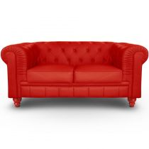 "Canapé 2 Places ""Chesterfield"" 157cm Rouge"