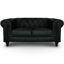 "Canapé 2 Places ""Chesterfield"" 157cm Noir"